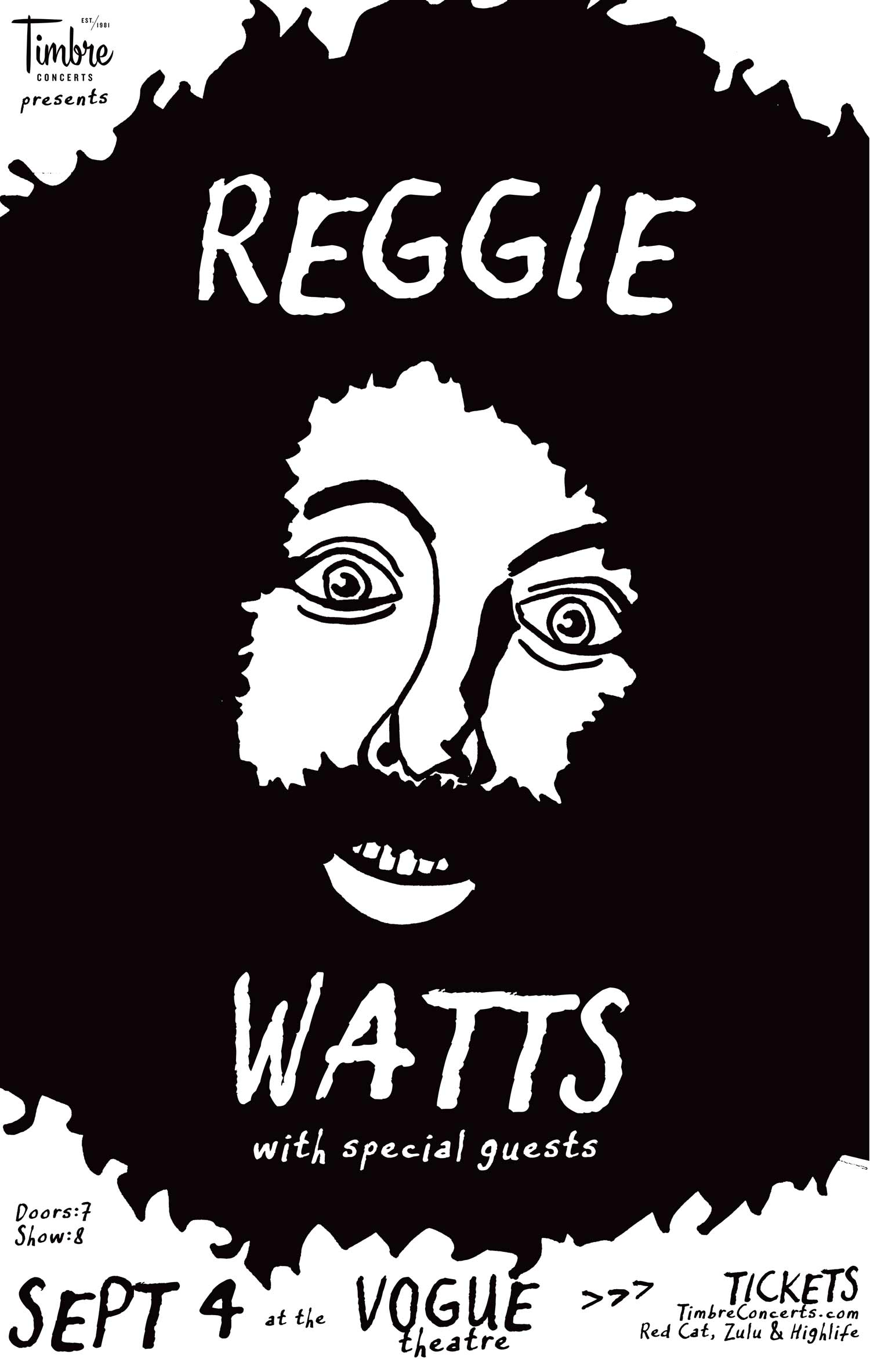 Illustrated show poster for Reggie Watts