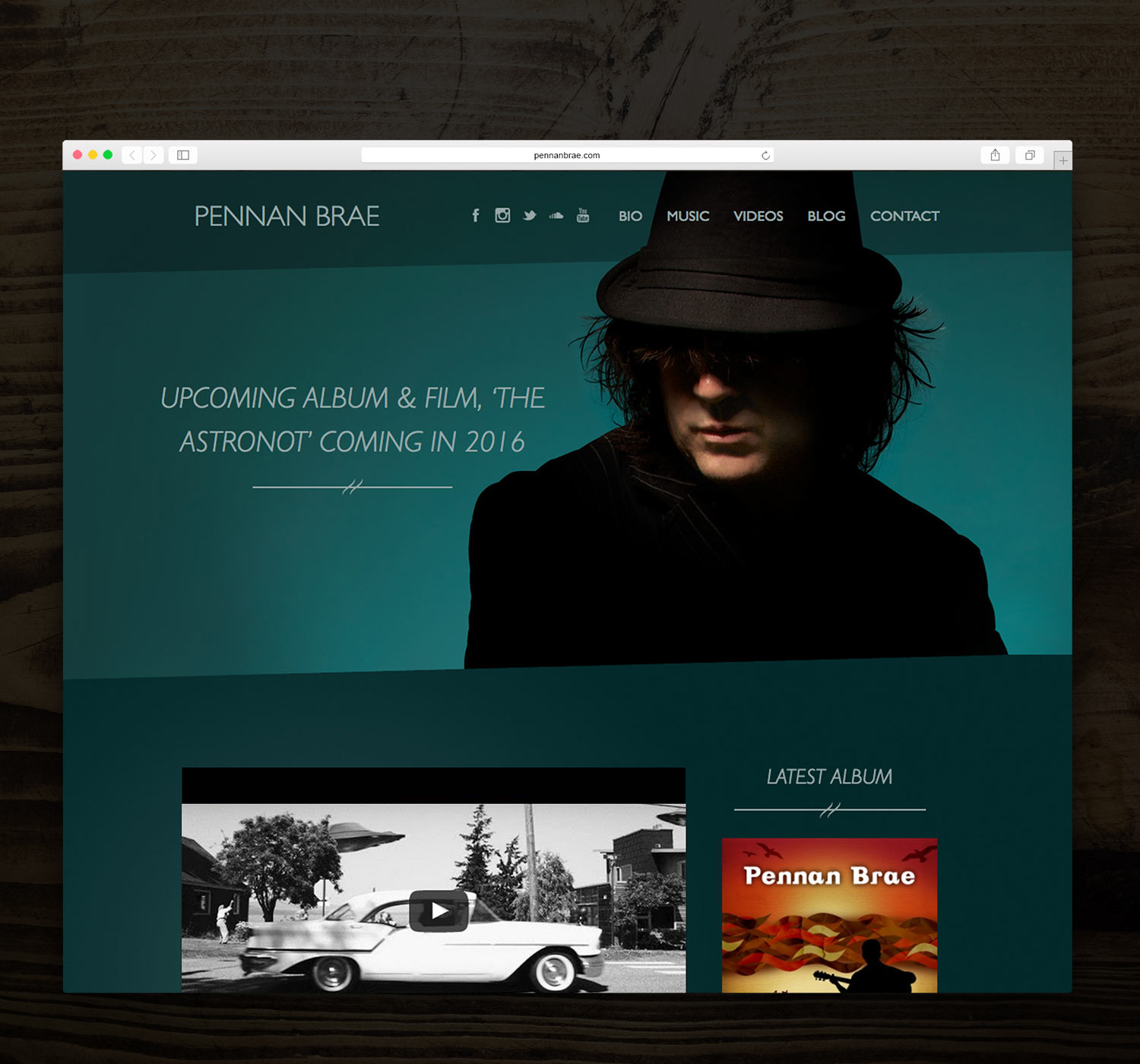 Responsive web design for musician Pennan Brae